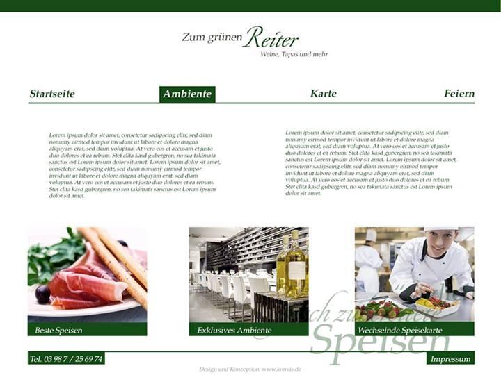 Designstudie WordPress Gastronomie zum grünen Reiter