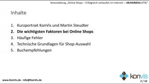 erfolgreich online Shop Vortrag