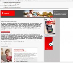 BetreffAW Ihr Onlinebanking-Zugang-sparkassen-phising-mail