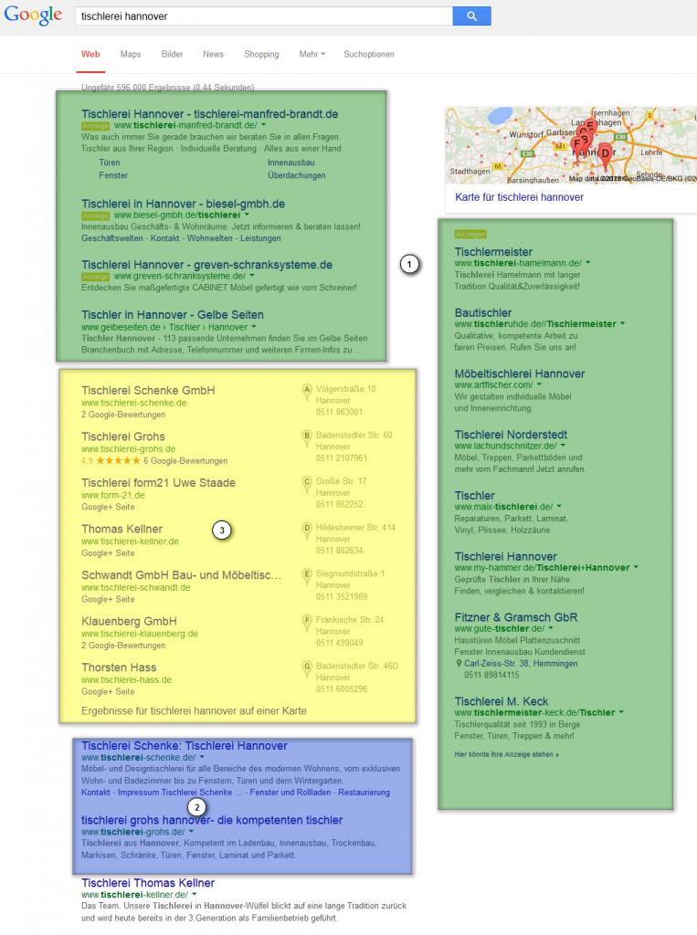Bereiche von Google Suchergebnissseite