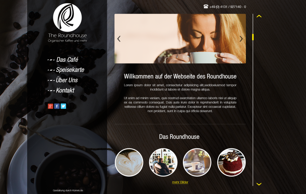 Interentseite Cafe Homepage