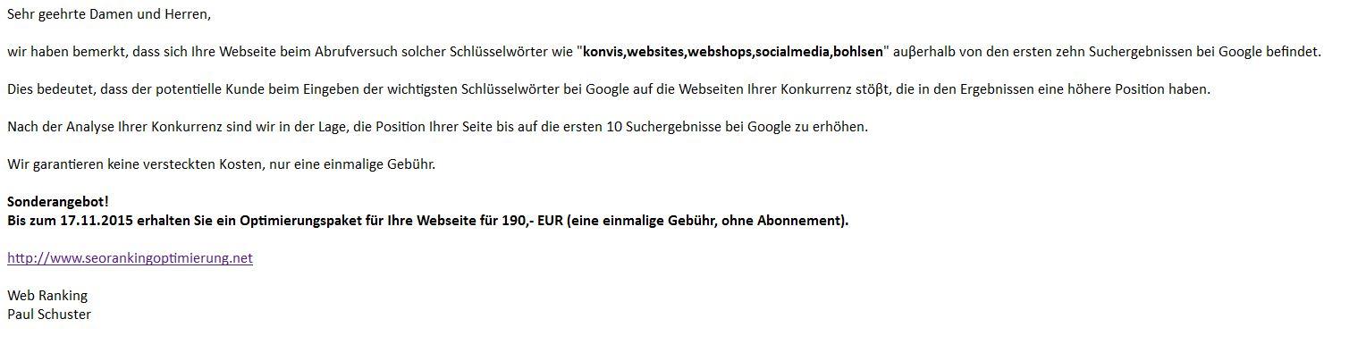 SEO Spam von seorankingoptimierung.net - Web Ranking - Paul Schuster