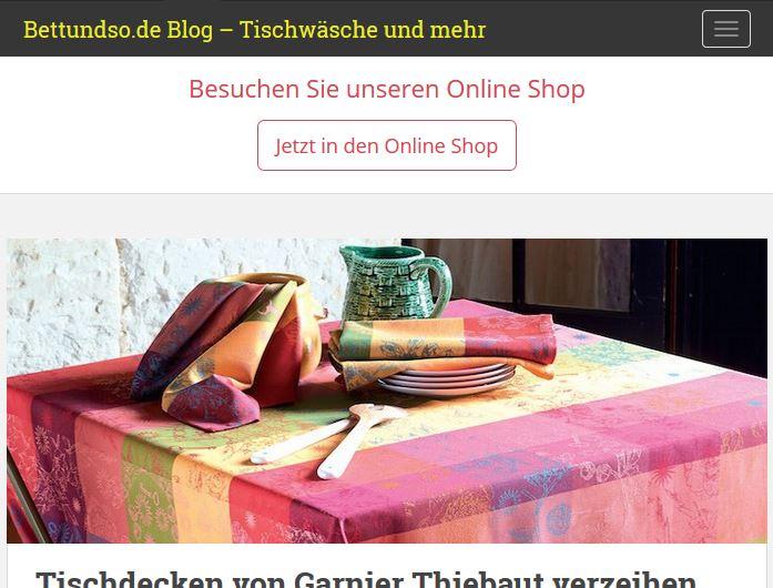 Blog über Tischwäsche und mehr Magento