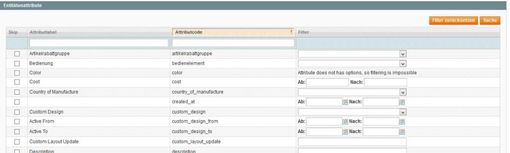 Produkte exportieren Magento filtern basierend auf Attributen