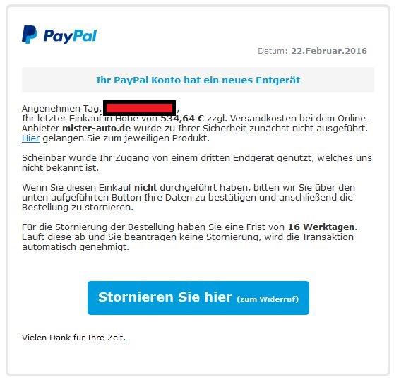 Merkwürdige Transaktion festgestellt - Bitte handeln Sie - mister-auto.de