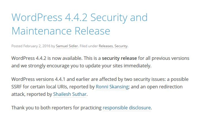 WordPress 4.4.2 Security and Maintenance Release