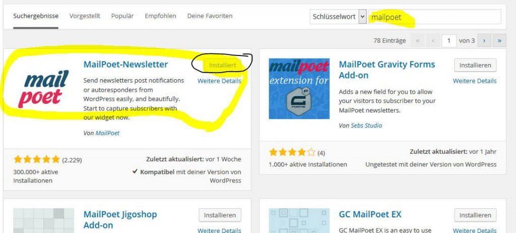 Wordpress Newsletter Plugin Mail Poet installieren