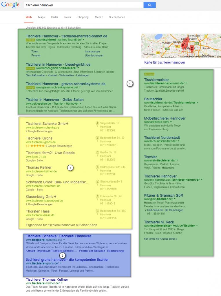 Die unterschiedlichen Bereich in den Google Suchergebnissen