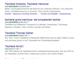 Tischlerei Hannover die organischen Suchergebnisse