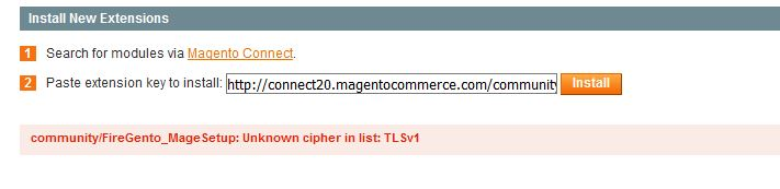 community-FireGento_MageSetup Unknown cipher in list TLSv1