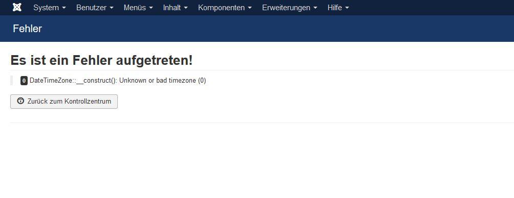 DateTimeZone::__construct(): Unknown or bad timezone